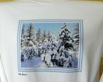 SNOW SCENE T-Shirt created by Pam of Pam's Fab Photos; 100% Preshrunk Cotton; Short or Long Sleeve, White only, Gift Idea