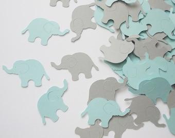 "Elephant Party Decoration, Boy Baby Shower Elephant Confetti, Baby Blue & Gray Elephant Cutouts, Birthday Party Decoration, 1.5"", 200"