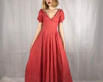 1970's Red Polka Dot Maxi Dress