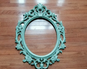 Mint Green Oval Ornate Frame / Large Open Back Gallery Frame / Photo Prop / Free Glass Optional