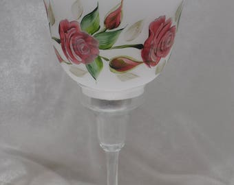 2 pc. Hand painted rosebuds tealight candle holder