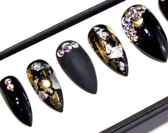 Press On Nails with Nail Art - Pointy Acrylic Nails Crystals - Matte Glue On Nails - Gel Stiletto Fake Nails - Bling False Nails - Claw Nail
