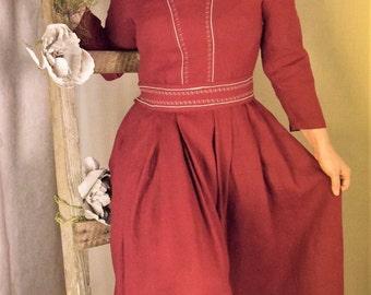 Dark red linen long dress.