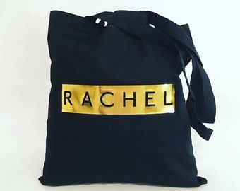 Personalised Black Tote Bag with Metallic Design