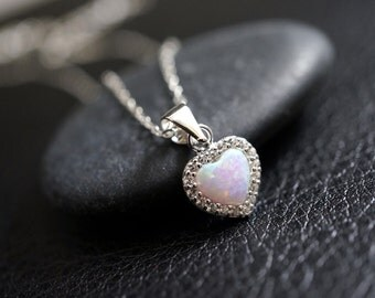 Tiny Fire Opal Necklace, Full Sterling Silver Opal Heart Necklace, Cz Necklace, White Opal Necklace,tiny Opal Jewelry, Children Jewelry