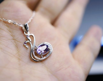 Natural Amethyst Necklace - Tiny Sterling Silver Couple Swan Necklace, Tiny Genuine Amethyst Pendant , Cz Necklace