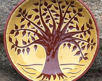 Tree of Life Bowl - Pennsylvania German Redware Sgraffito Ware SG528