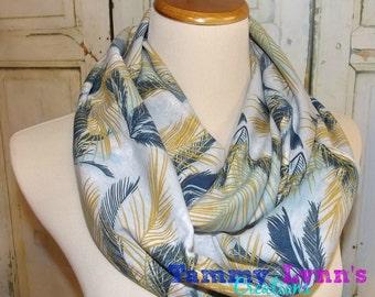 NEW Mustard Blue Feather Ferns Jersey Knit Scarf Women's Accessories