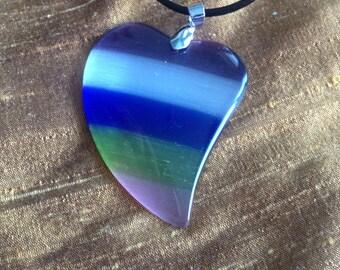 Christmas: Beautiful Multi Color Heart Cat's Eye Pendant Necklace-Blue Heart Agate Pendant Necklace- Heart Agate Necklace -Lavender Agate