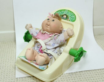 Vintage Cabbage Patch Kid Doll Carrier Car Seat with Doll, Belt and Liner 1992