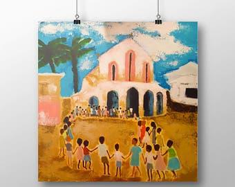 Children of Africa Print, Art Print, Giclee Art Print, Children, Children in Circle, Children Dancing, Church, Fine Art Print