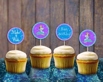Princess Cinderella Toppers INSTANT DOWNLOAD Printable Princess Cupcake Muffin Toppers Digital File Cinderella Party Supplies Birthday