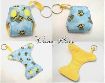 "Cloth Diaper keychain Bees print 2"" Basic Diaper key chain diaper key fob"