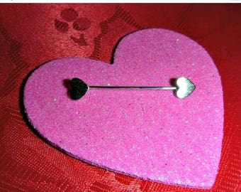 Vintage Silver Double Heart StickPin Mod Valentines Day Jewelry Broach Double End Stick Pin Brooch 1970s Deadstock Romantic Anniversary Gift