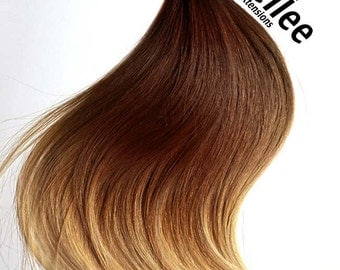 Ombre extensions etsy high contrast gold ombre weave hair extensions silky straight natural human hair machine tied pmusecretfo Gallery