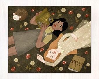 girls in grass postcard