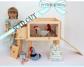 DOLL CHICKEN COOP Hen House for American Girl ®, 18-inch Dolls includes handcrafted coop; available with optional accessories