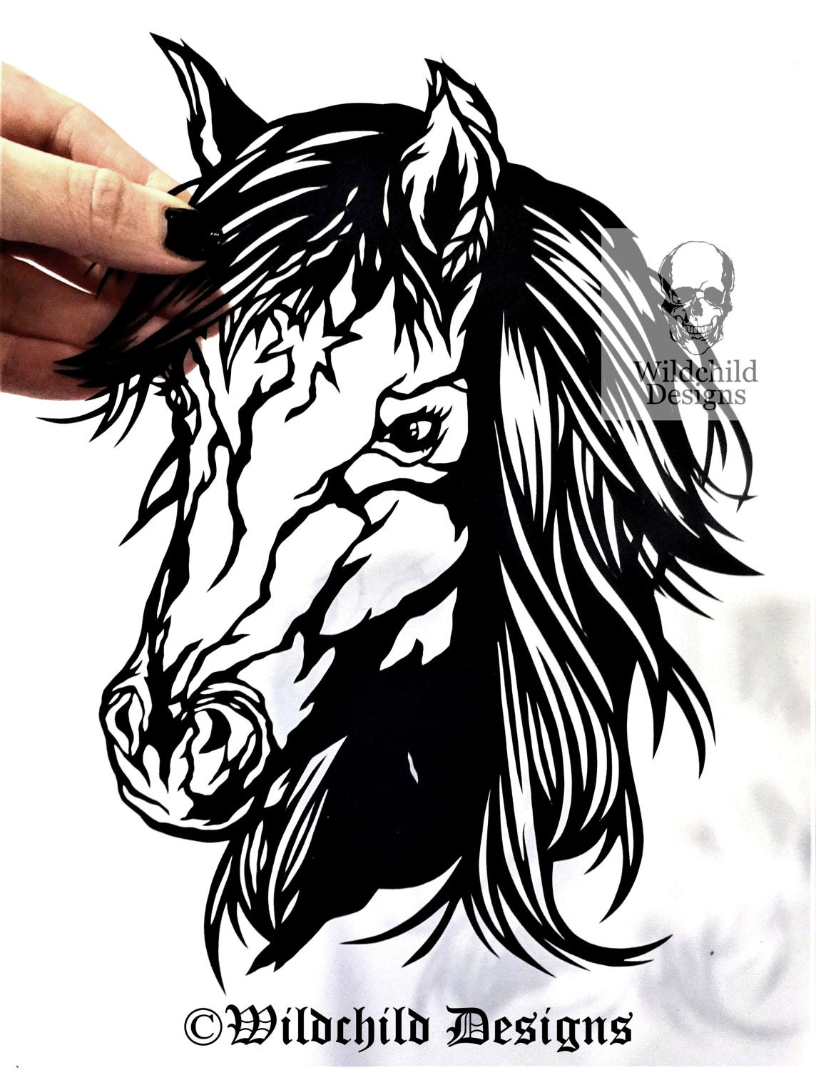 spirit the horse paper cutting template for personal or