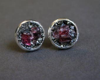 Pyrite ear stud-Raw spinel earrings-rough gem silver plated earring-raw gemstone and pyrite earrings