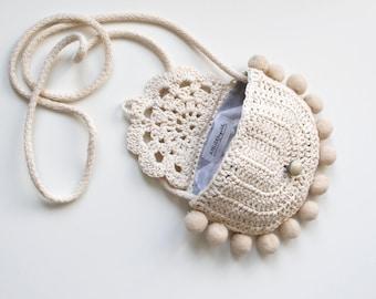 Boho Crochet Bag, Shoulder Bag, Cross Bag for Toddler Girl, Girl Purse, Toddler Bag Crochet Tote Bag, Little Girl Gift, Ready to Ship