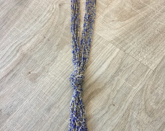 Purple/Neutral Beaded Knit Necklace