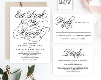 Eat Drink And Be Married Printable Wedding Invitation Set - Wedding Suite Editable PDF Template - Instant Download