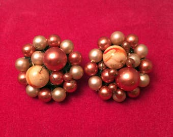 Lovely Vintage 50's Copper Pearl Button style Clip On Earrings