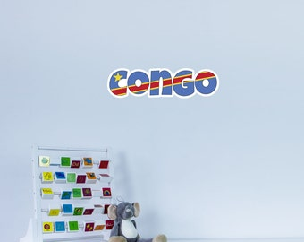 National Flag Country Name of Congo Vinyl Wall Art