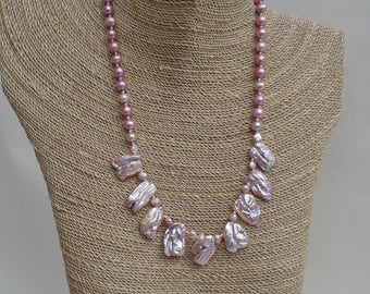 Pink Lavender Keishi Pearl Necklace and Earrings Set