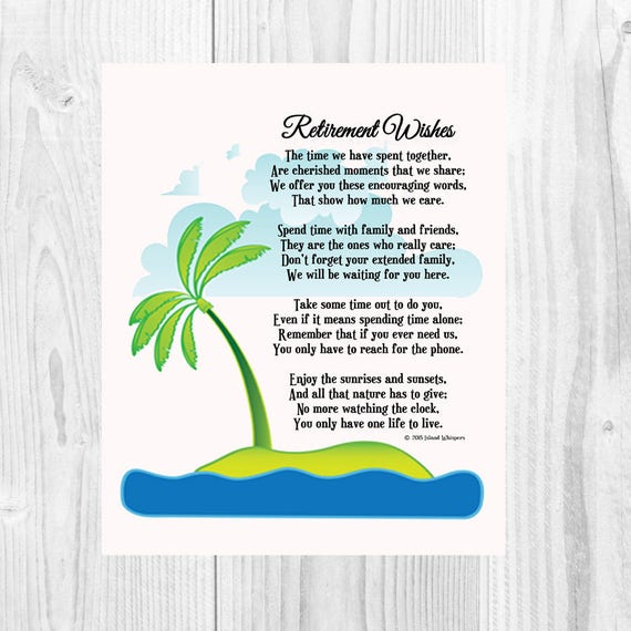 Items similar to Retirement Gift, Retirement Poem, Co ...