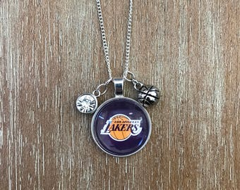 Los Angeles Lakers Baskebtall Inspired Fan Charm Necklace