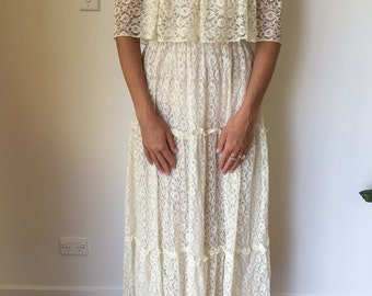 Vintage lace off the shoulder wedding dress, cream off white 1970s, very romantic