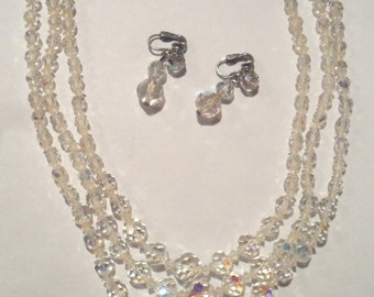 1950s Crystal Glass Necklace Aurora Borealis NECKLACK and EARRINGS Beads Prism effect Mid Century Jewelry