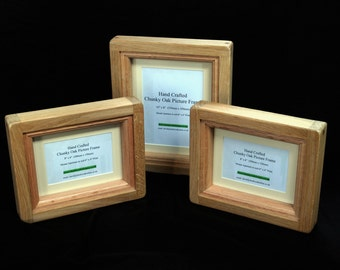 """9"""" x 7"""" Chunky Oak Picture Frame - Hand Crafted by 'Chunky Oak Designs'"""