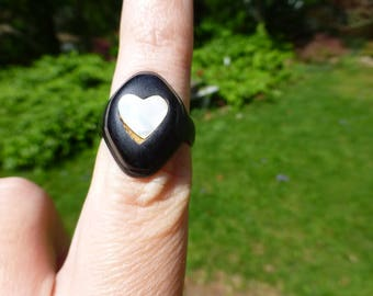 So Rare Antique Georgian Victorian Bog Oak Sweetheart Mourning Ring, Handmade, Circa 1840, Size 5.5