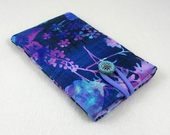 Smartphone cover, i phone sleeve, handmade cellphone case, protection i phone, padded phone case, blue and purple cover