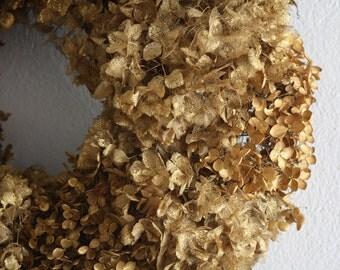 "Dried Hydrangea gold wreath ,36 cm , 14.17"" wedding wreath , shabby chic , cottage wreath , primitive golden wreath,"