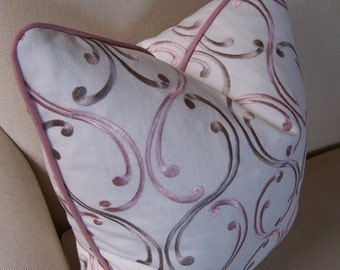 Designer Pillows, Blush Pink and Gray Embroidered Pillow with Blush Piping, Decorative Pillows, Pillows with Piping, Throw Pillows, Accent