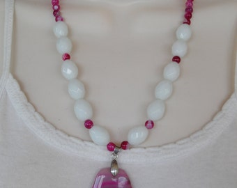 Necklace, agate necklace, milk glass, white glass, glass beads, gemstone necklace, fushia, pink agate beads, beaded necklace, dragon vein