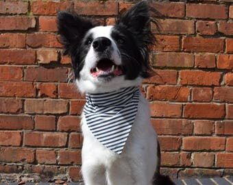 Navy Blue & White Stripy Dog Bandana, Slip on Dog Bandana, Handmade Dog Bandana, Slip on Bandana, Dog Neckerchief, Blue Bandana