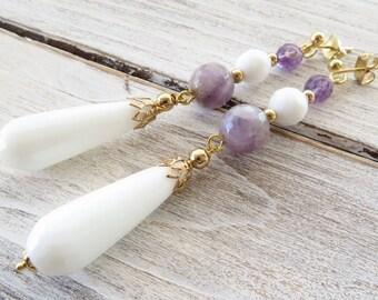 White agate earrings, drop earrings, purple amethyst earrings, long dangle earrings, stone earrings, gemstone jewelry, modern jewelry