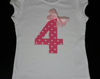 Girls Birthday t-shirt, girls number shirt, girls 4th birthday top, girls birthday number shirt, 4th birthday top with a bow