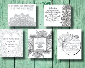 Set of 5 digital LDS coloring pages with General Conference Quotes 2016//Jeffery R Holland Quotes//