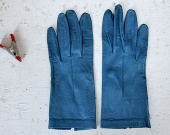 1960s Ladies Blue Leather Driving Gloves, Vintage Leather Gloves, Vintage Ladies Accessory