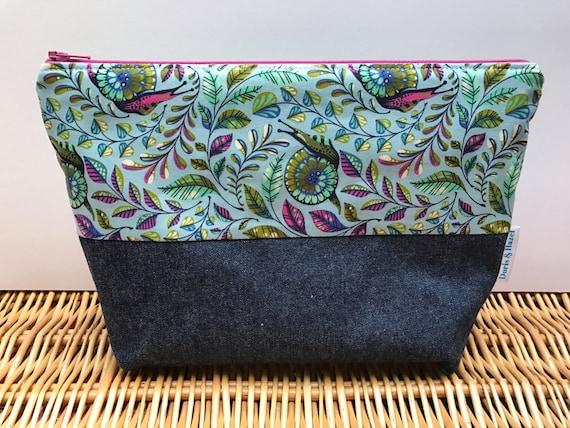 Knitting project bag cosmetic bag toiletry bag