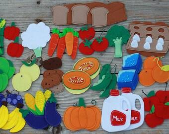 Felt food pieces, felt eggs, milk, bread, vegetables and fruit, Pretend food, Play food, Felt board pieces, 3-10cm, 1 pcs - Choose your set