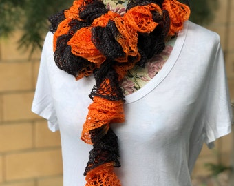 Black & Orange Ruffle Scarf