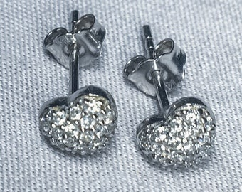 14k White Gold Diamond Heart Shaped Earrings