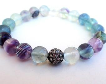 Fluorite bracelet , Gift for her , Beaded bracelet , Healing bracelet , Gift for girlfriend , Womans gift , Fluorite woman , Gift for wife