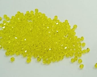 4mm Bicone Glass Bead, Yellow, 700 Pieces Per Pack